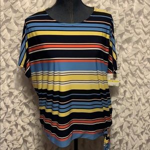 Rafaella blouse multicolor with Stripes Sz medium